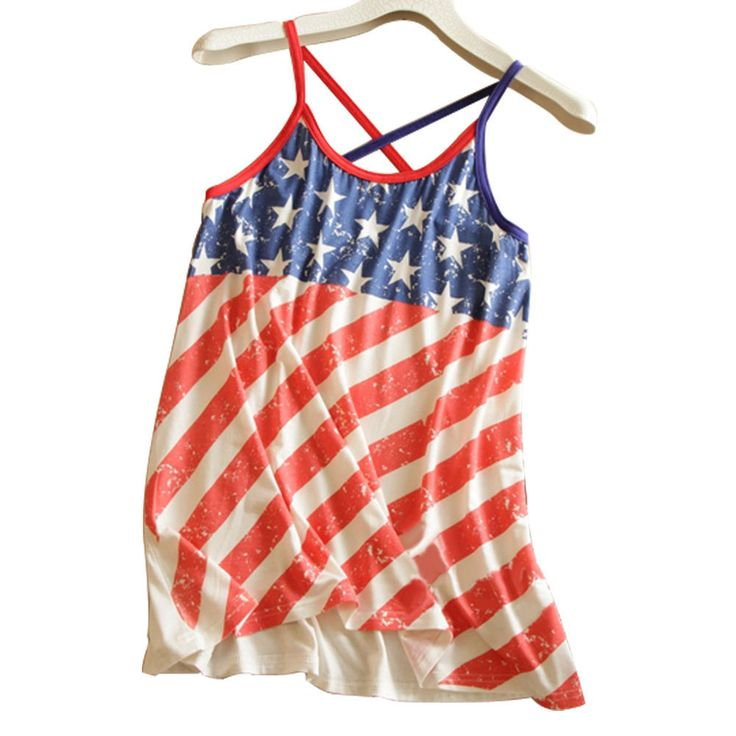 Sinful Sexy USA American Flag Stars Stripe Women Camisole Tank T-Shirt Tops  A01