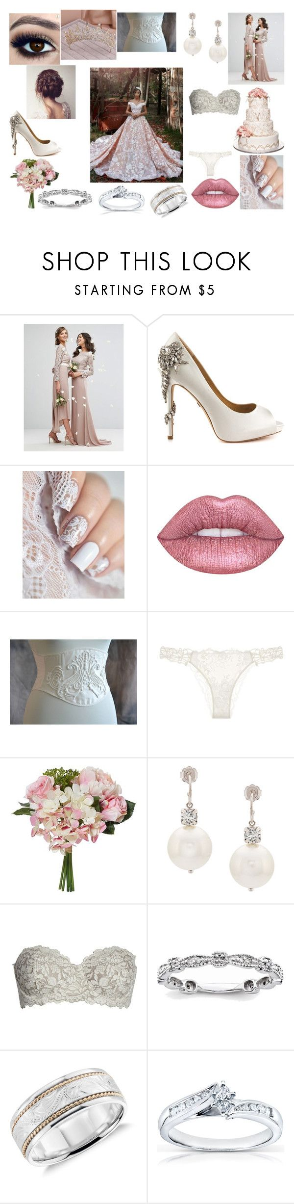 """Arranged marriage"" by luporagazza9 ❤ liked on Polyvore featuring TFNC, Badgley Mischka, Lime Crime, La Perla, Simone Rocha, Felina, Blue Nile and Annello"