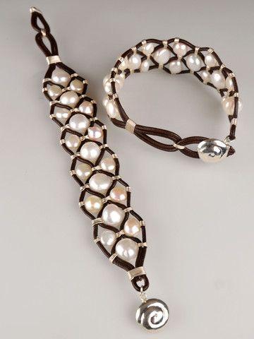 Harmony Scott Jewelry Design - Shanti Leather Pearl Cuff   Chocolate Leather & Freshwater Pearls by Harmony Scott