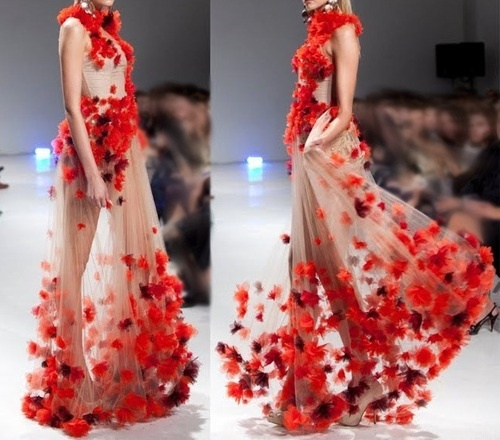 Like autumn leaves in the wind! ( crimson, red, dress, gown )