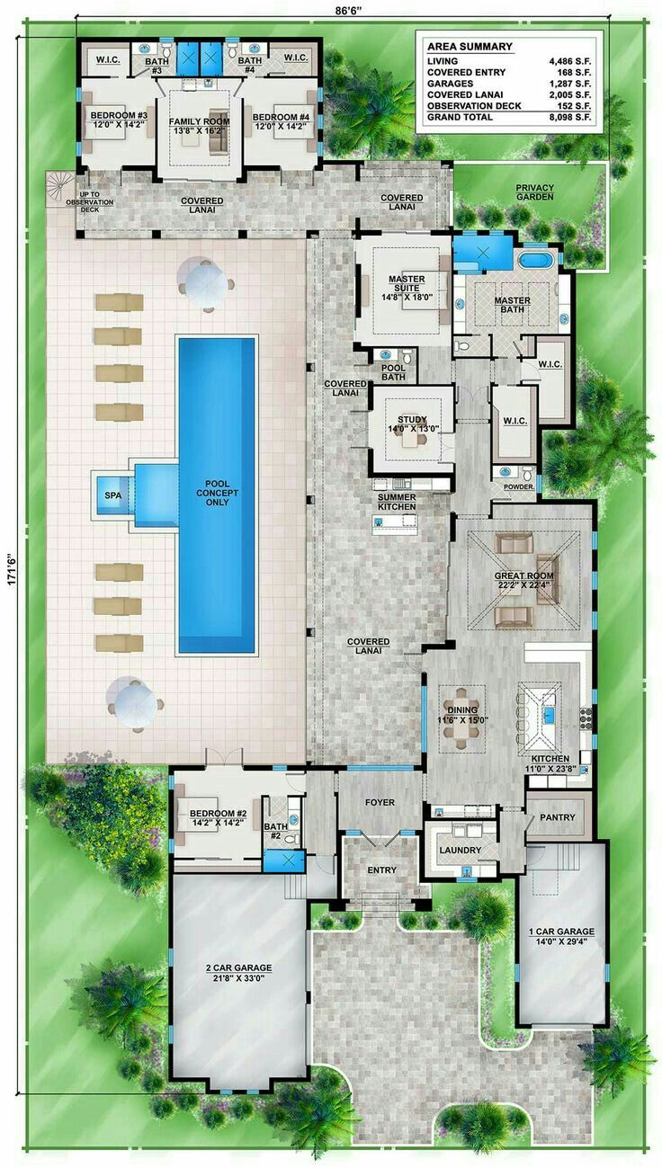 Home plans with pool home designs with pool from homeplans com - Pinterest Claudiagabg Casa 4 Cuartos 1 Estudio Piscina Pool House Plansflorida