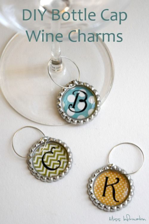 These DIY Bottle Cap Wine Charms are so cute and easy to make to have for a family get together or as a gift for friends!