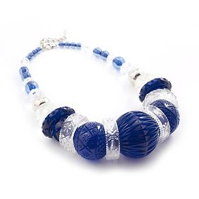 Statement blue resin necklace by Douglas Poon
