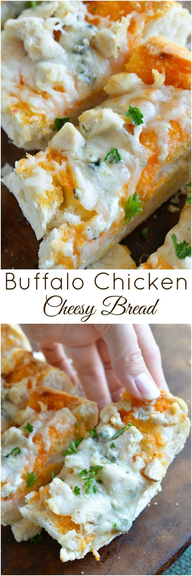 Buffalo Chicken Cheesy Bread is an easy and flavorful game day appetizer! Buffalo wing sauce, chicken and blue cheese come together in this hot, melty cheesy bread recipe. #appetizer wonkywonderful.com