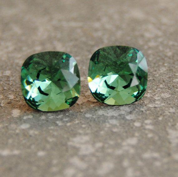Crystal Forest Green Earrings Swarovski Crystal by MASHUGANA