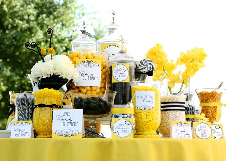 Black And Yellow Candy Table Baby Shower Bumble Bee 736x525