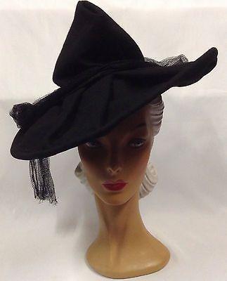 40s OTT Most Amazing Black Wide Pleat Brim Felt Hat with High Crown & Draped Net