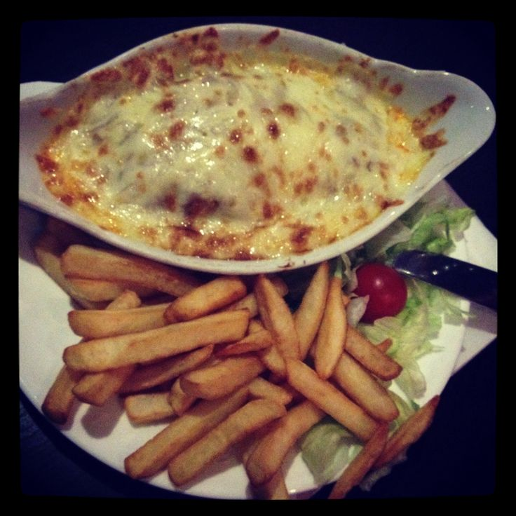 Lasagne and chips mmm