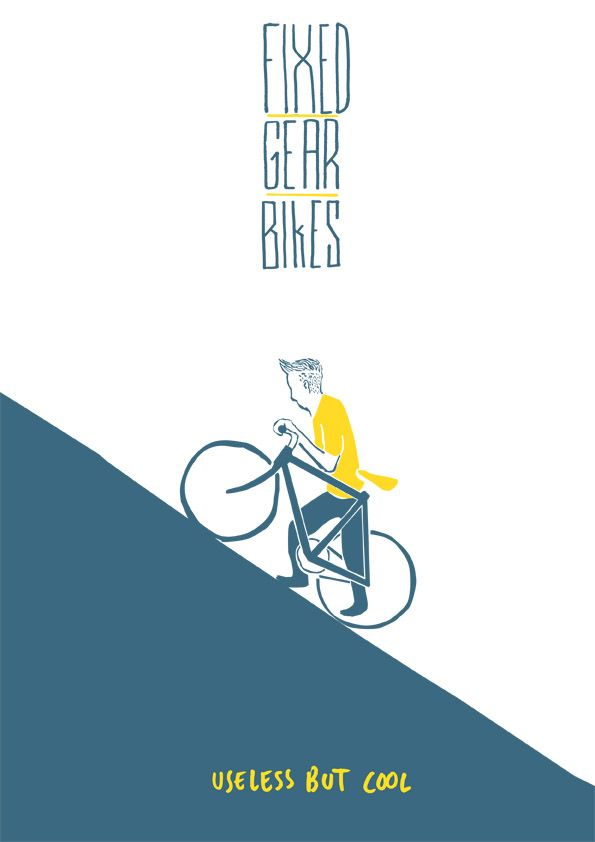 Fixed gear bikes, useless but cool #artwork #cafe #coureur