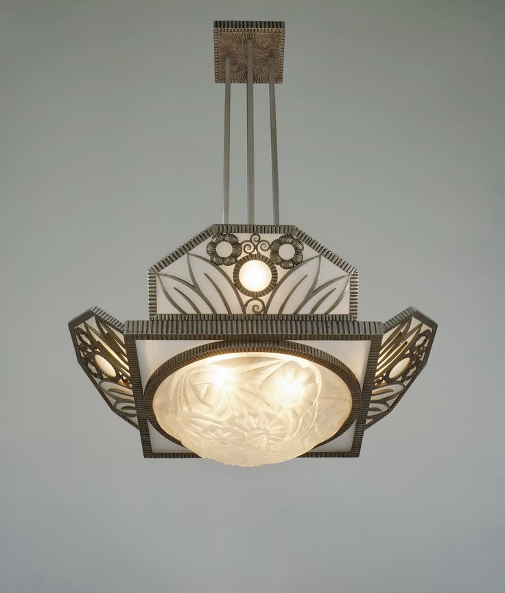 H.FOURNET & DEGUE 1930 chandelier in wrought iron by le fer forgé H.F.  (paravas-ebay)