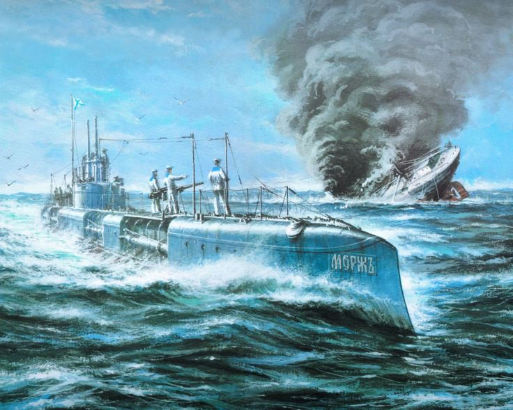 Скачать обои тонущий корабль, подводная лодка Морж, Андреевский флаг, море, дым, рисунок, волны, Корабль, небо, чайки, раздел живопись в разрешении 1152x922