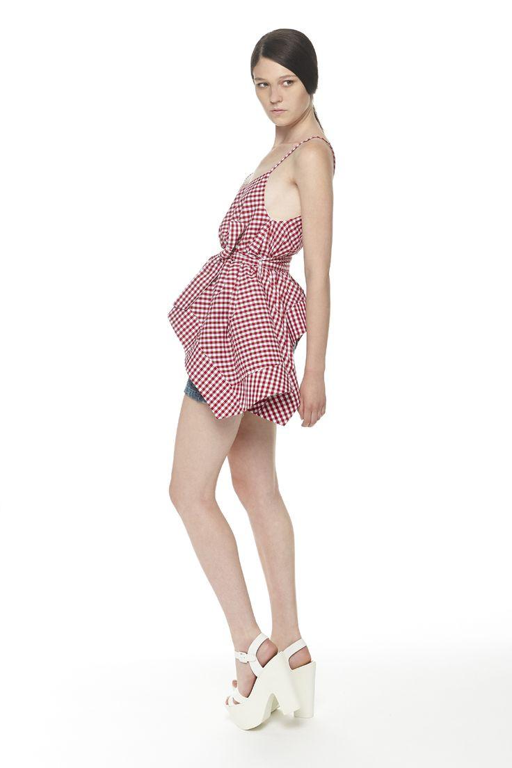 #ERAKLE #SS16 vichy top & high waisted denim shorts