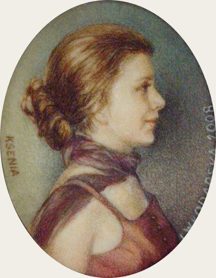 Ksenia /medallion/, watercolor on ivorine