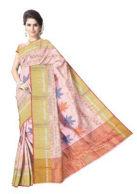 Baby Pink Pure Pattu Silk Handwoven Chanderi Saree Chanderi Sarees on Shimply.com