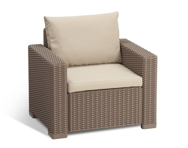 Allibert by Keter California Outdoor Garden Armchair - Cappuccino with Sand Cushion >>> Want additional info? Click on the image. #GardenFurnitureandAccessories