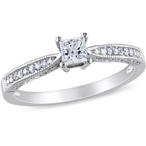 1/3 CT TGW Created White Sapphire and Diamond-Accent Engagement Ring in Sterling Silver