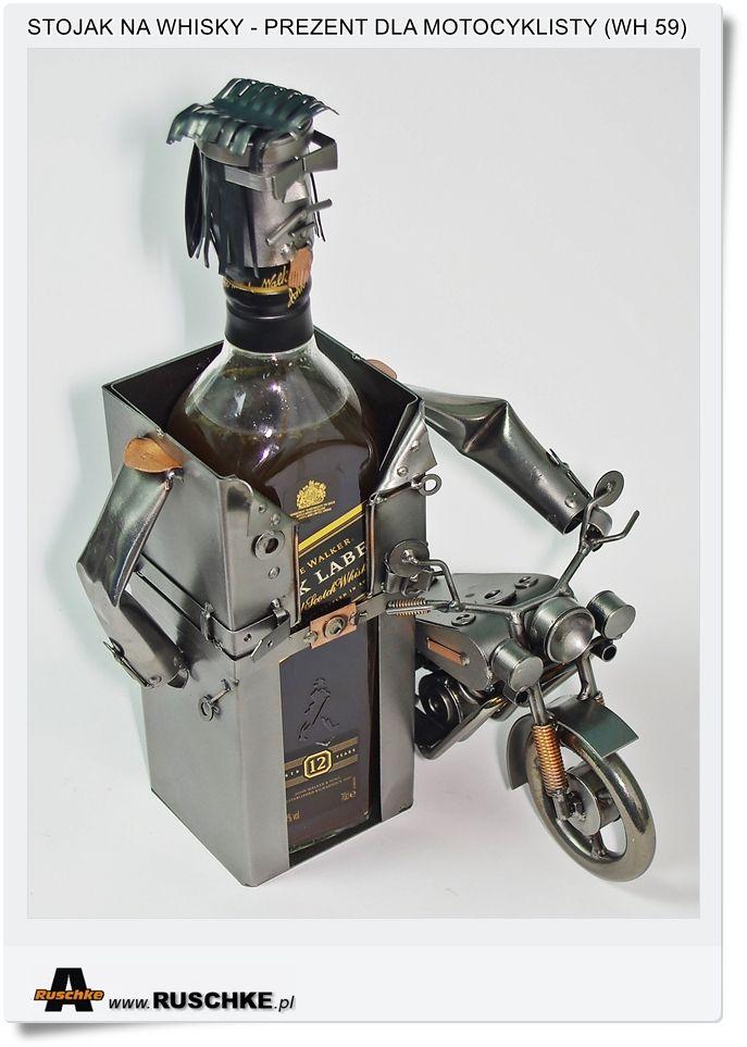 Stojak na Butelkę Whisky dla motocyklisty z motorem