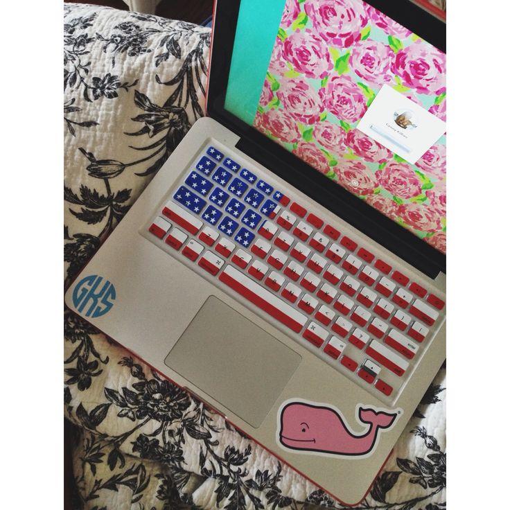 macbook; lilly pattern, american keyboard, vineyard vines sticker, & monogram
