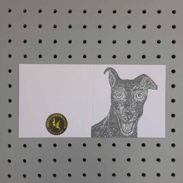 Greyhound handprinted greetings card. Birthday. Any occasion Blank inside for your own message. by HollyBowerMakes on Etsy