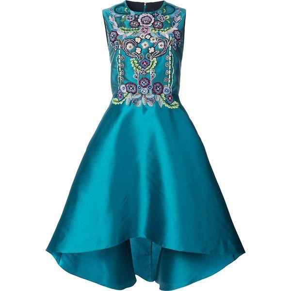 Marchesa Notte high-low embellished dress ($1,270) ❤ liked on Polyvore featuring dresses, blue, mullet dresses, notte by marchesa, blue color dress, embellished dress and dip hem dress