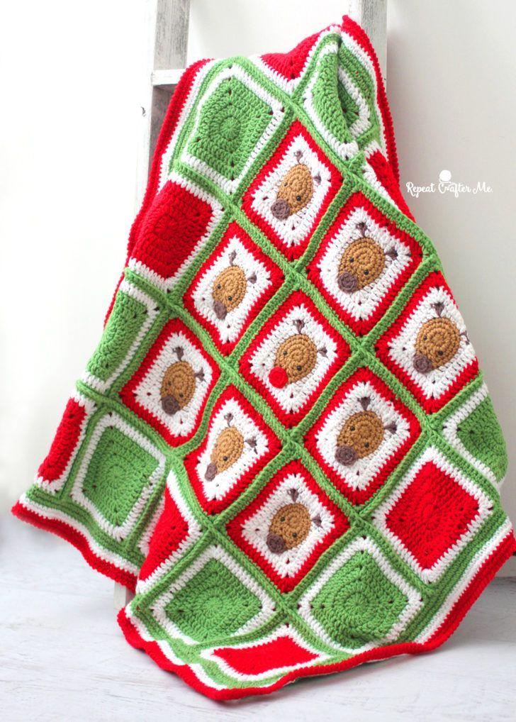Bernat Crochet Christmas Reindeer Blanket Christmas Crochet