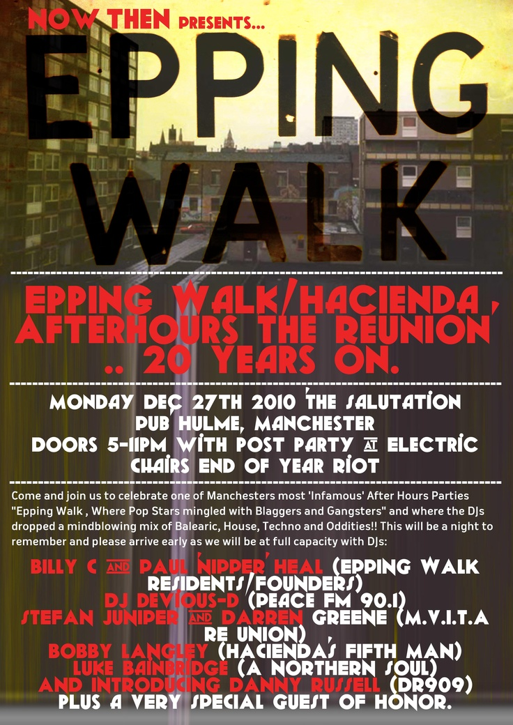 An events poster I created on commission for a friend, celebrating 20 years since the Epping Walk closed in Manchester.