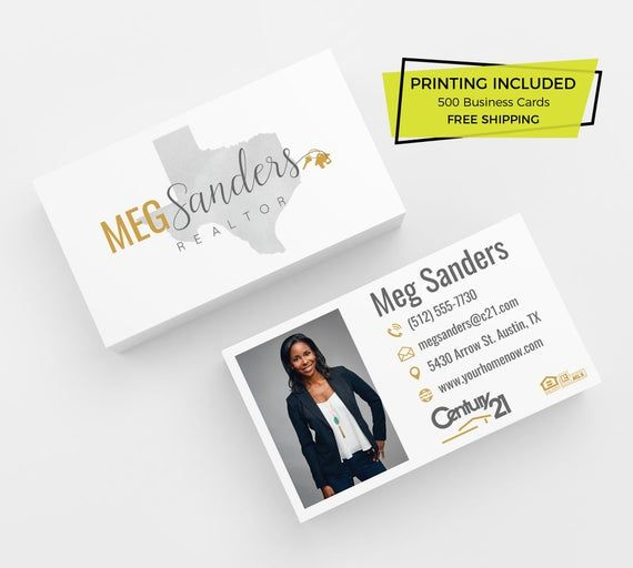 Home State Realtor Printed Business Cards Printed Custom Etsy Printing Business Cards Free Business Cards Printed Cards