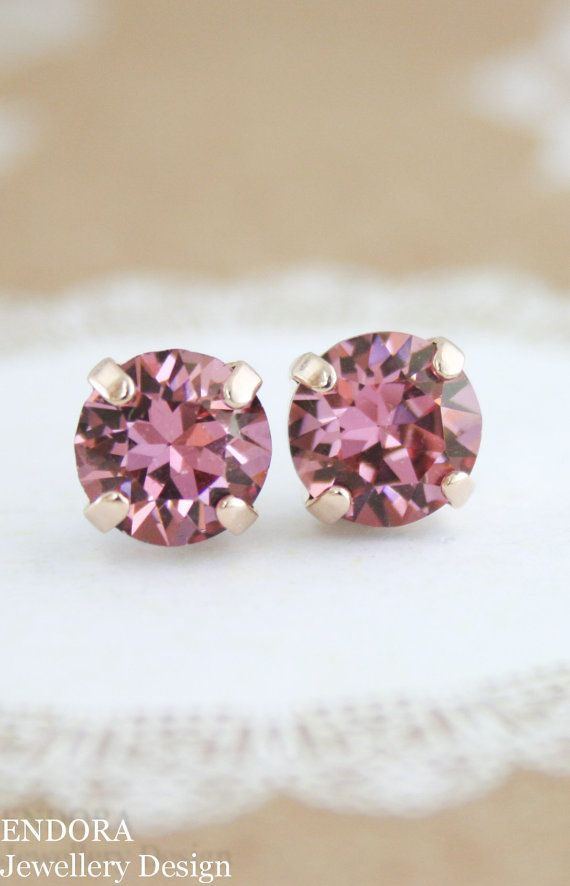 Pink crystal earrings | dusty pink | plum pink | plum wedding | plum bridesmaid | dusty pink wedding | www.endorajewellery.etsy.com