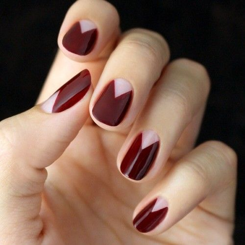 love love this burgundy chevron half mani! perfect for fall. #nails