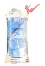 Alleluia -   2/10 de Tequila Blanco, 2/10 de Marrasquino, 2/10 de Curacao Azul 2/10 de Jugo de limón (Zumo de limón), Gotas de clara de huevo, Bíter de limón (Schweppes, etc.), Hielo