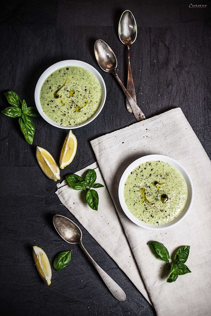 A quick and delicious summer recipe. Cold zucchini yoghurt soup. Healthy and delicious ingredients and a quick recipe.