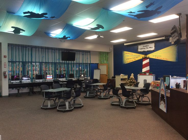 Jazz colored Node Chairs were used to enhance this media center at Old Kings Elementary in Flagler Schools. Love the ocean themed lighting covers.