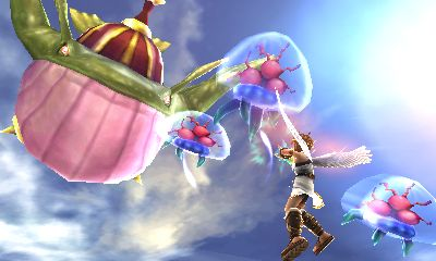 """This screenshot from Kid Icarus: Uprising features Pit fighting """"Komaytos"""", which are indeed meant to serve as an allusion to the Metroid series - makes even more sense when considering that the first two Kid Icarus games run on the same game engine as the Metroid games on their respective systems.  In Kid Icarus: Uprising, they even do the same thing - latching onto Pit and sucking away his life energy on contact.  They can only be killed by melee attacks."""