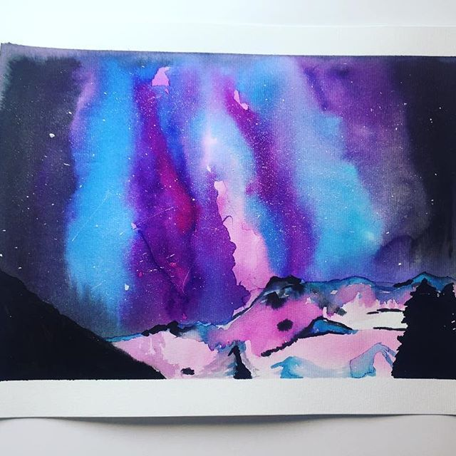 Galaxy with aquarela #space #aquerela #painting #SantiagodeChile #galaxy #mountains #watercolour #paperart #handmade
