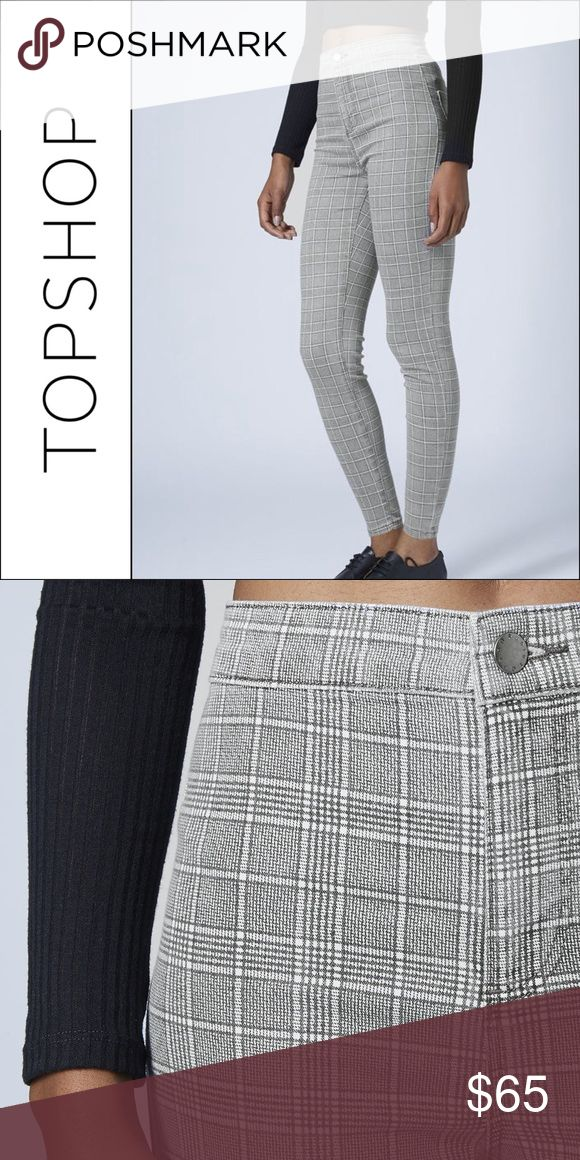 """Topshop Joni Plaid High Rise Waisted Skinny Jeans Brand: Topshop Style: Joni (High Waisted Super Skinny Jeans) Size: 30x30 Shade: Plaid (Prince of Wales)  Measurements: Waist: 14.5"""" across, 29"""" around Inseam: 28""""  This item is new without tags. It is extremely stretchy and comfortable. Topshop Jeans Skinny"""