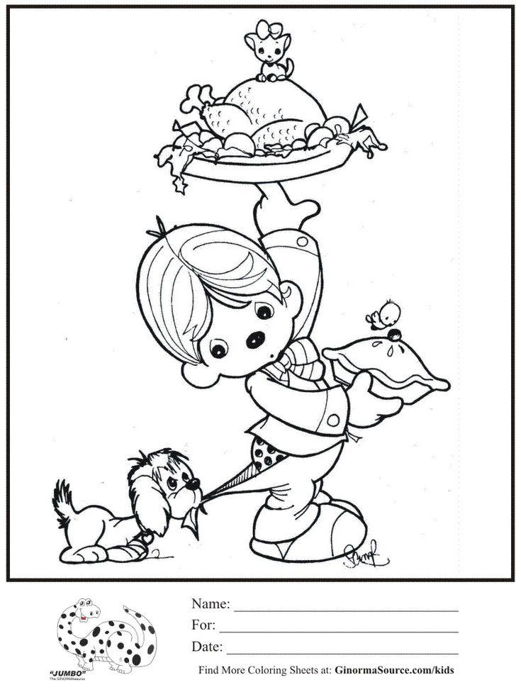 дети-раскраска страницы-благодарение-драгоценные моменты раскрашивание-лист