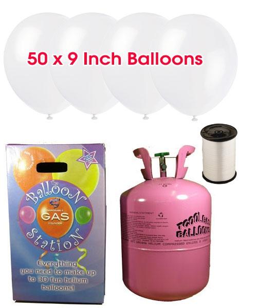 Bouteille d'hélium jetable avec 50 Ballons blanc neige et ruban inclus