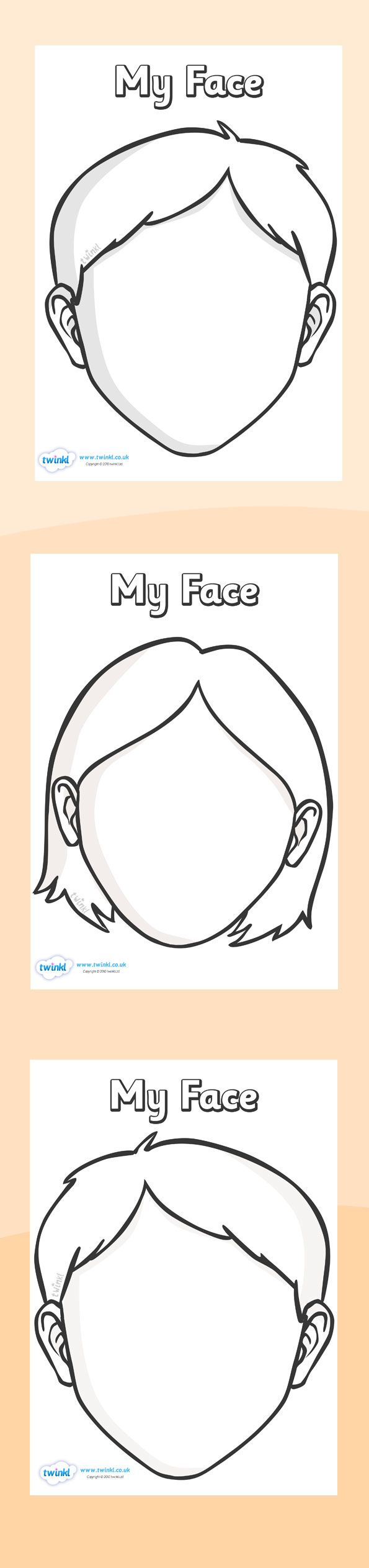 Twinkl Resources  Blank Face Templates with Face Features  Printable resources for Primary, EYFS, KS1 and SEN.  Thousands of classroom displays and teaching aids! Topics, Ourselves, Face, Templates, Features