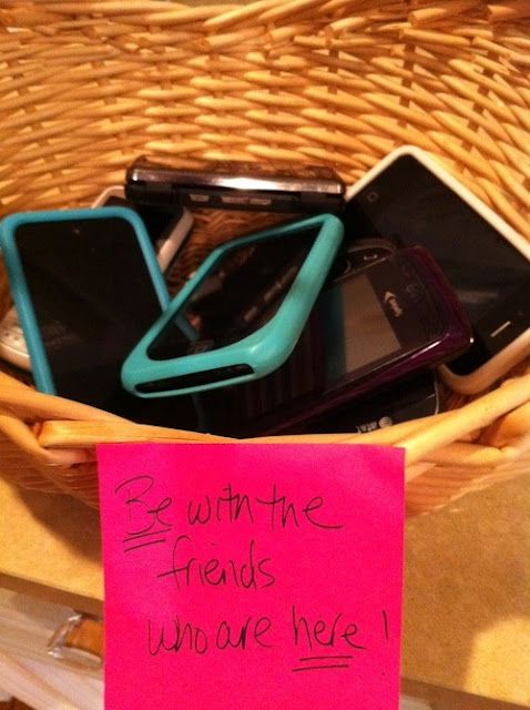 "A good idea!  ""Be with the friends who ARE here.""  I must admit, it's a big pet peeve of mine when people are constantly texting others that aren't there while hanging out ... not mention extremely rude!!  Be present :)"