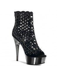 Rhinestone Dye Cut Chrome Platform Ankle Boot in Black Velvet Suede/Pewter  Chrome, sizes 6 through by Pleaser.