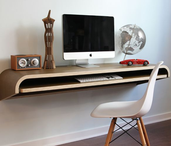 Minimal Float Wall Desk on Uncovet.com - This magical desk appears to float out from the wall.