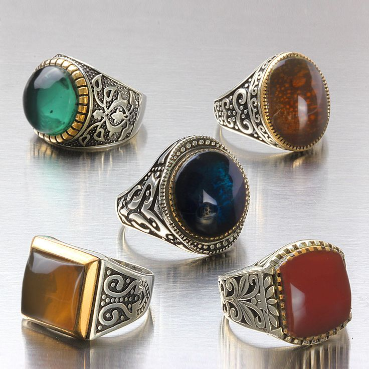 Wholesale Lot 5Pcs 925 K Sterling Silver Mens Rings Natural Amber Mixed Size $109.00