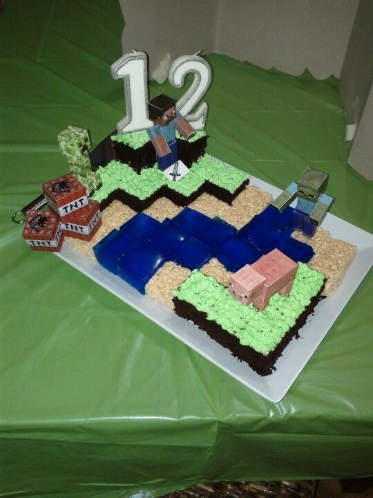 Minecraft cake for my sons birthday. Easy as! Chocolate cake with peppermint buttercream grass. Jelly cubes for water and rice crispy squares for sand blocks. Figures were a free printable cut and glued together.