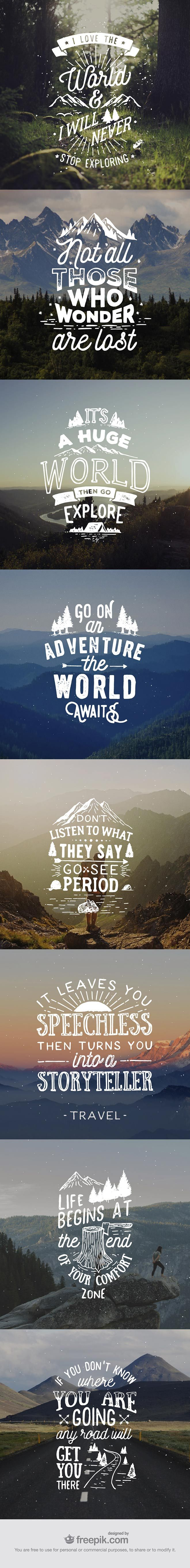 8 Hand Lettered Travel Quotes by @spoongraphics