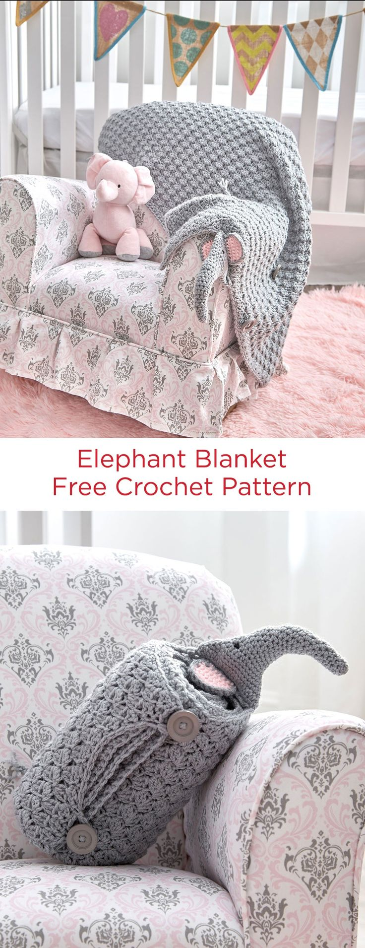 Elephant Blanket Free Crochet Pattern in Red Heart Yarns -- Here's a blanket that doubles as a huggable pillow! Elephant's head and tail are added to the edges so that they are visible after you roll it up. Button and loop closures keep it securely rolled.