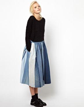 Изображение 1 из Пышная джинсовая юбка с контрастными нашивками Ashish
