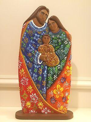 """15 """"Conjunto de Natividade Mão Feita De Madeira De Cedro Nicarágua, infantário, Manjedoura, Sagrada Família"""