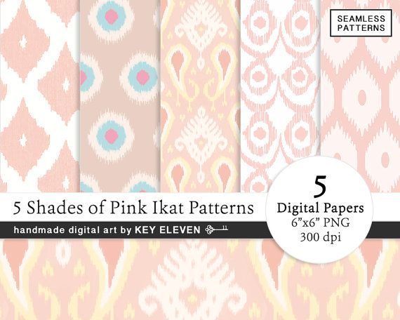 INSTANT DOWNLOAD! 5 Shades of Pink Ikat Pattern Digital Paper Pack. Sexy name for a sexy collection of Pink Ikat patterns... Bring a dash of modern sophistication to your brand or projects with these designer-like digital paper / pattern backgrounds. With the rose, pink, coral, beige, taupe, white, yellow and blue patterns. Use it for custom greeting cards or business cards. Get more digital paper patterns from Key Eleven at keyeleven.etsy.com