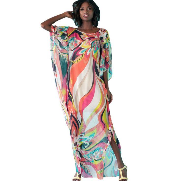 Summer long beach dress tunic african print fabric moroccan kaftan beach art smock beachwear coverups vestido de noiva S42066