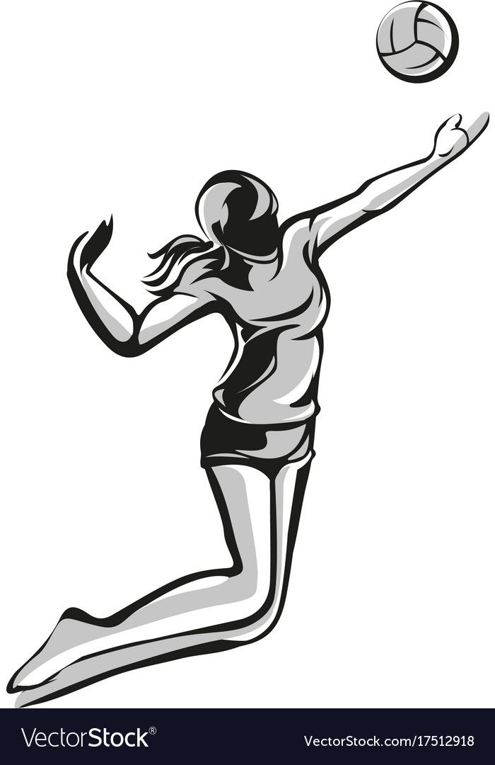 Volleyball Player Vector Image On Vectorstock In 2020 Vector Volleyball Vector Images